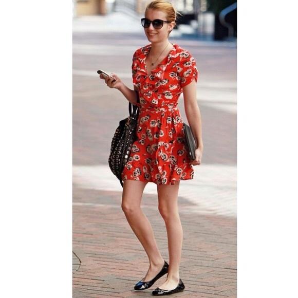 866f7a2418b7 Kate Moss for Topshop red poppy wrap dress. M 5b1d428b9539f77c41f71d57